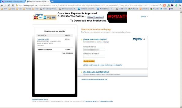 Landign page directamente en Paypal